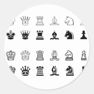 Chess symbols round sticker