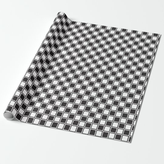 chess table black white wrapping paper