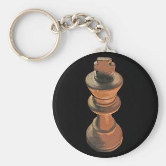 Chess, White King, Stylised (2) Basic Round Button Key Ring