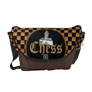 Chess Wood Board Messenger Bag