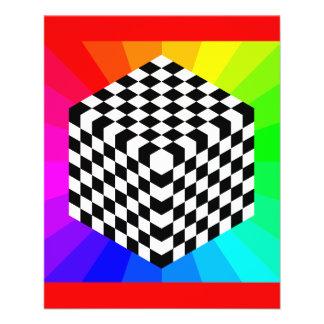 chessboard-153303 OPTICAL ILLUSIONS RAYS CUBES SQU 11.5 Cm X 14 Cm Flyer