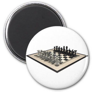 Chessboard and Chess Pieces: 6 Cm Round Magnet
