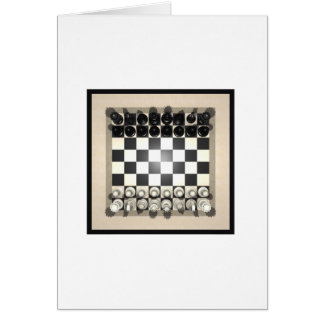 Chessboard and Chess Pieces: Greeting Card