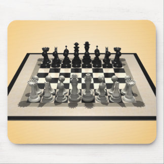 Chessboard and Chess Pieces: Mousepad