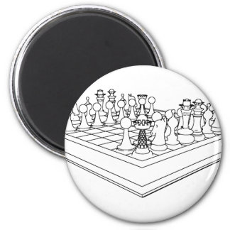 Chessboard & Chess Pieces: 6 Cm Round Magnet