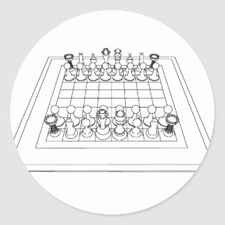Chessboard & Chess Pieces: Classic Round Sticker