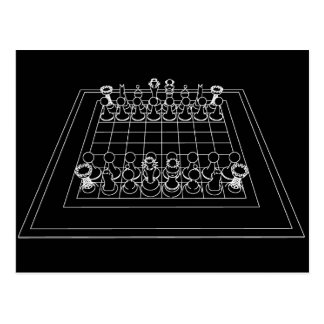 Chessboard & Chess Pieces: Postcard