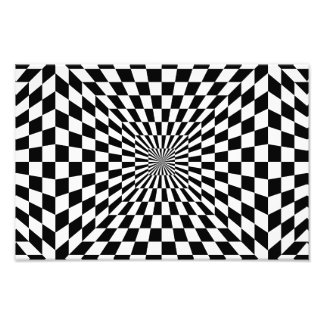 Chessboard optical illusion photo print