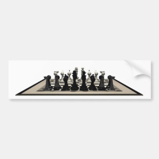 Chessboard with Chess Pieces: Bumper Sticker