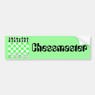 Chessmaster Green Chess Board Game Bumper Sticker