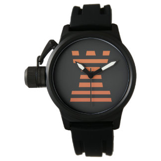 ChessME Mens Crown Protector Black Rubber Watch