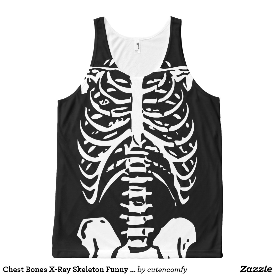 Chest Bones X-Ray Skeleton Funny Costume Halloween All-Over Print Tank Top