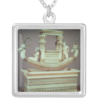 Chest with a boat decorated with two heads silver plated necklace