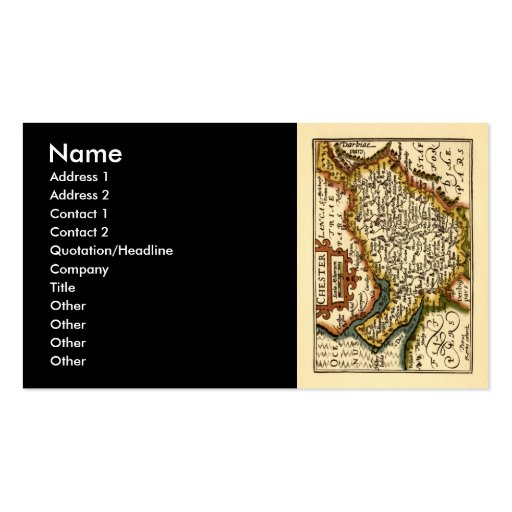 """Chester"" Cheshire, County Map, England Business Cards"