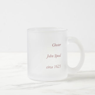 """Chester"" Cheshire, County Map, England Frosted Glass Coffee Mug"
