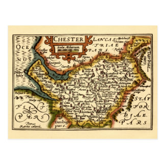 """Chester"" Cheshire, County Map, England Postcard"