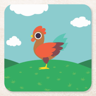 Chester the Rooster Square Paper Coaster