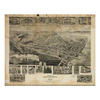 Chestertown Maryland 1907 Antique Panoramic Map Poster