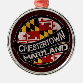 Chestertown Maryland flag grunge round ornament