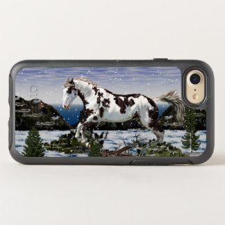 Chestnut and White Paint Horse in Snow OtterBox Symmetry iPhone 8/7 Case