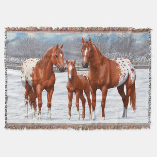Chestnut Appaloosa Horses In Snow Throw Blanket