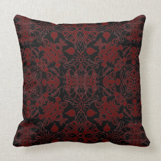 Chestnut Brown and Black Flourishes Cushion