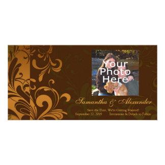 Chestnut Brown/Gold/Green Swirl Photo Card