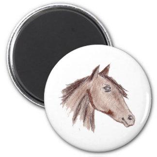 Chestnut Brown Horse 6 Cm Round Magnet