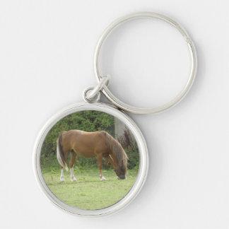 Chestnut Brown Horse Grazing Keychain