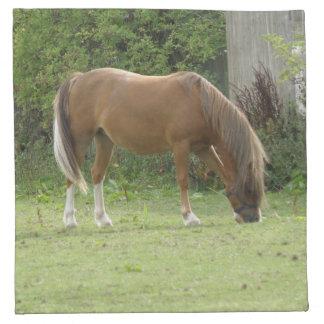 Chestnut Brown Horse Grazing Napkin