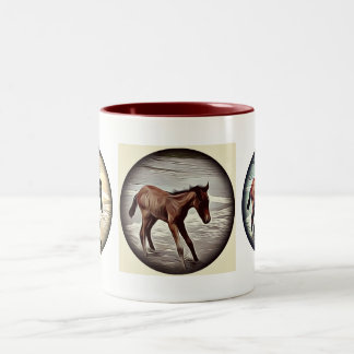 Chestnut Foal Playing in the Ocean coffee mug