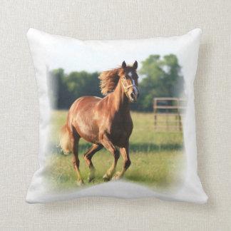 Chestnut Galloping Horse Pillow Cushion