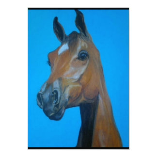 Chestnut horse face painting 13 cm x 18 cm invitation card
