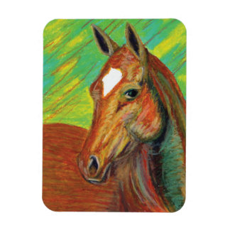 Chestnut Horse Head Art Rectangular Photo Magnet