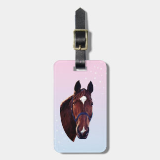 Chestnut Horse with White Star Bag Tag