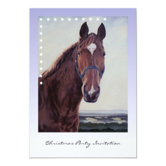 Chestnut Horse with White Star Oil Painting 13 Cm X 18 Cm Invitation Card
