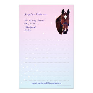 Chestnut Horse with White Star Writing Paper Customized Stationery