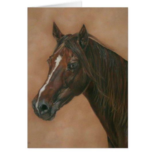 Chestnut mare horse portrait equine art painting card