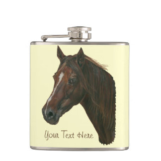 Chestnut mare horse portrait equine art painting hip flask