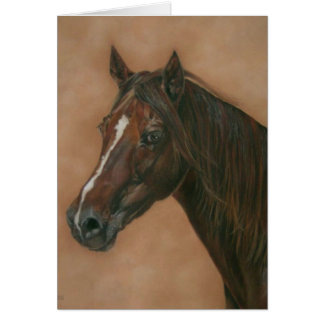 Chestnut mare horse portrait equine blank art card