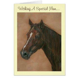 Chestnut mare horse portrait equine mum art card