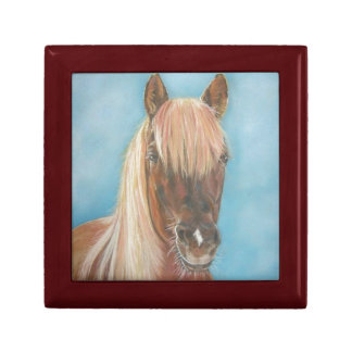 chestnut mare with blonde mane equine art horse small square gift box