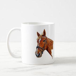 Chestnut mare with white blaze. Art. Basic White Mug