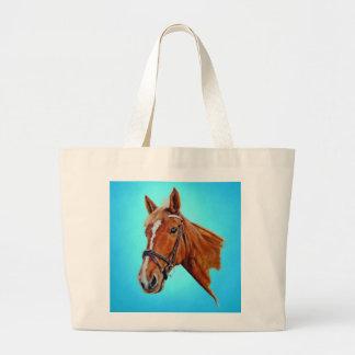 Chestnut mare with white blaze. Art. Jumbo Tote Bag