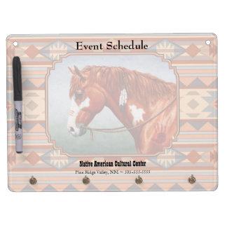 Chestnut Pinto Horse Southwest Indian Design Dry Erase Board With Key Ring Holder