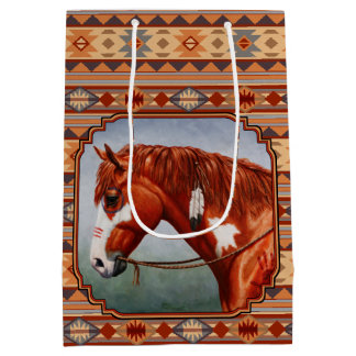 Chestnut Pinto Horse Southwest Indian Design Medium Gift Bag