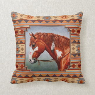 Chestnut Pinto Horse Southwest Indian Design Throw Pillow