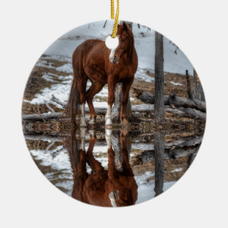 Chestnut Ranch Horse and Pond Reflection Christmas Ornament