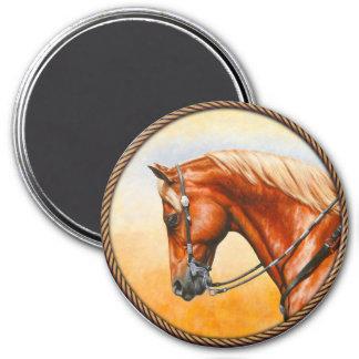 Chestnut Sorrel Western Quarter Horse 7.5 Cm Round Magnet