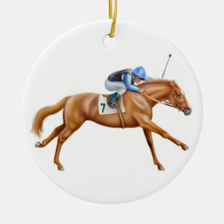 Chestnut Thoroughbred Race Horse Ornament